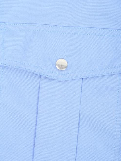 Рубашка из хлопка с короткими рукавами и накладными карманами - Деталь1