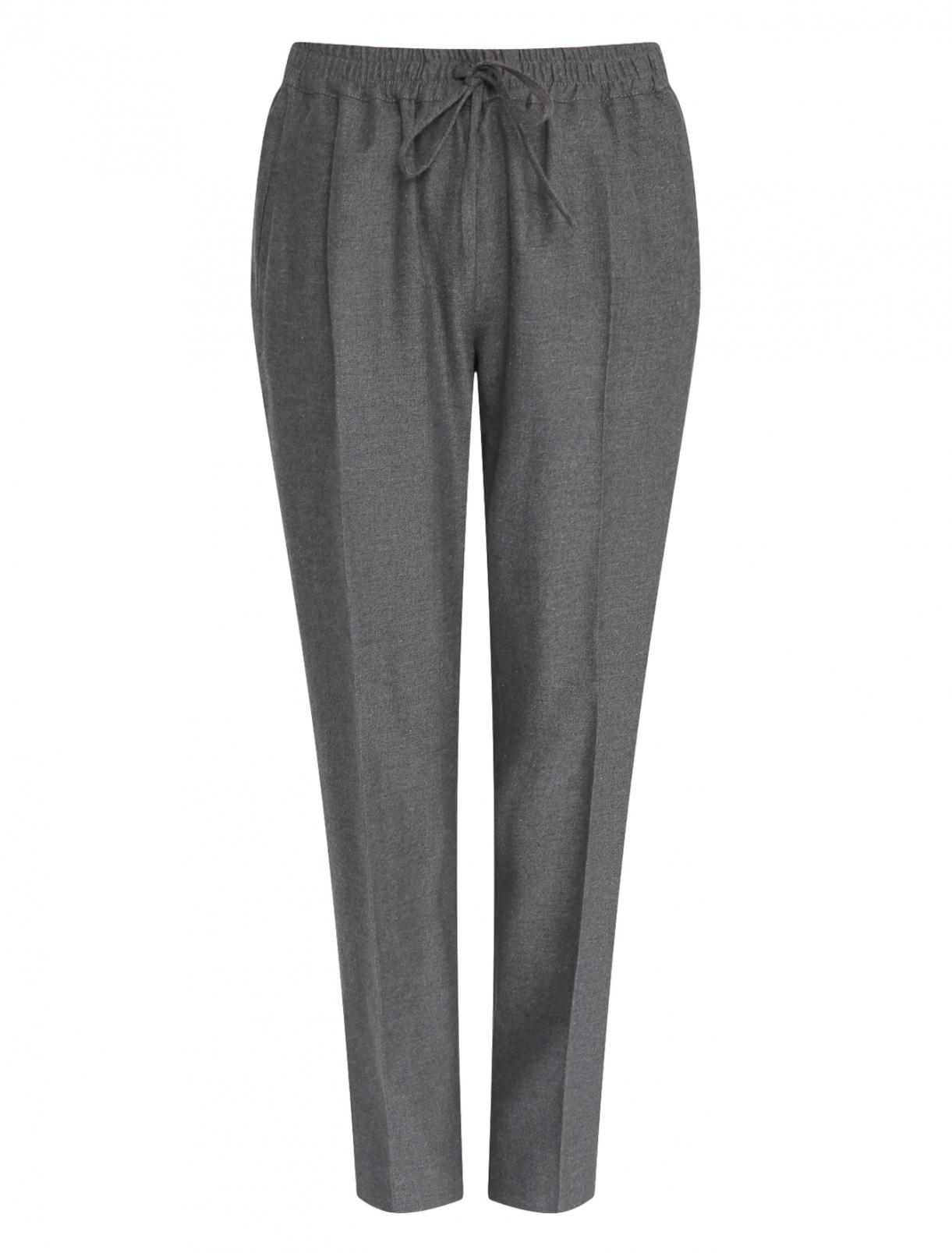 Укороченные брюки на резинке из шерсти и хлопка Marina Rinaldi  –  Общий вид