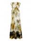 Платье-макси из шелка с цветочным узором N21  –  Общий вид