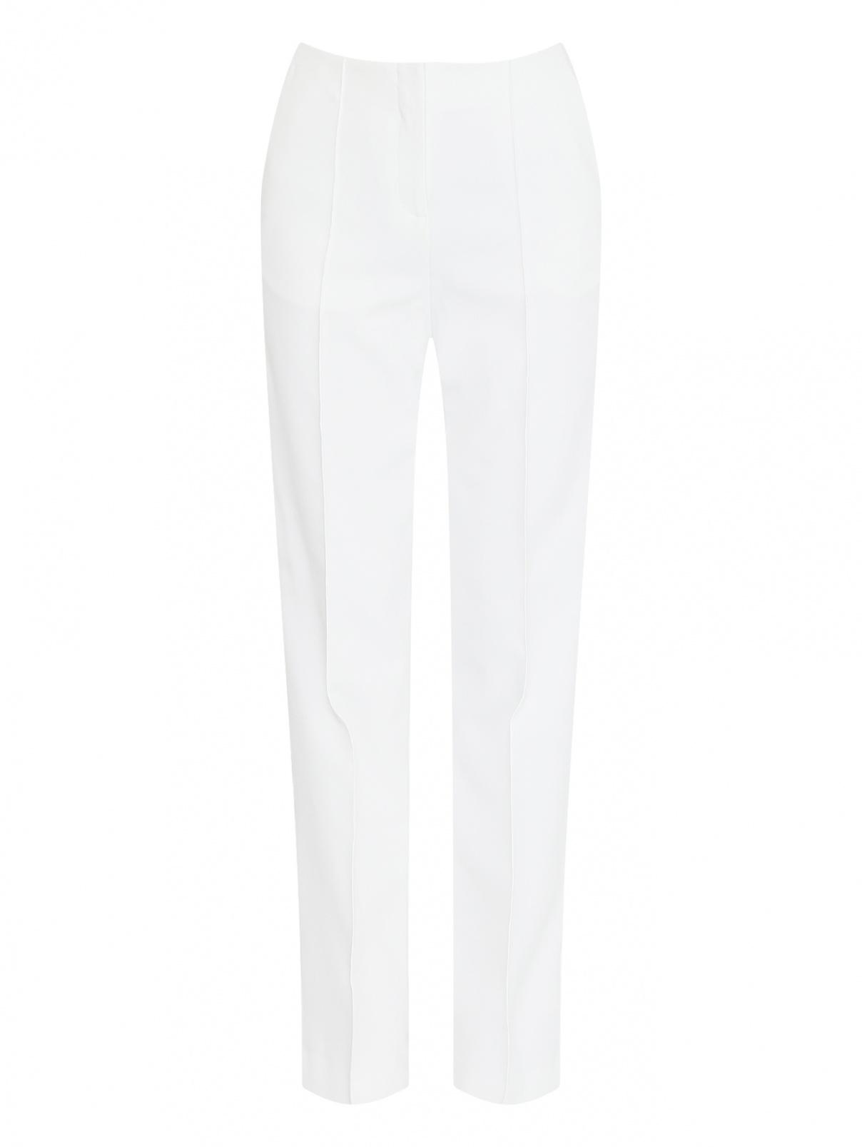 Брюки на высокой талии прямого кроя Diane von Furstenberg  –  Общий вид  – Цвет:  Белый