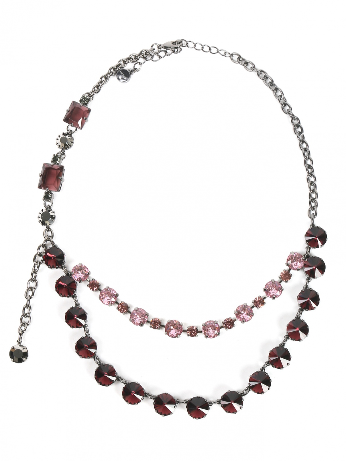 Колье из металла декорированное кристаллами Max&Co  –  Общий вид  – Цвет:  Мультиколор