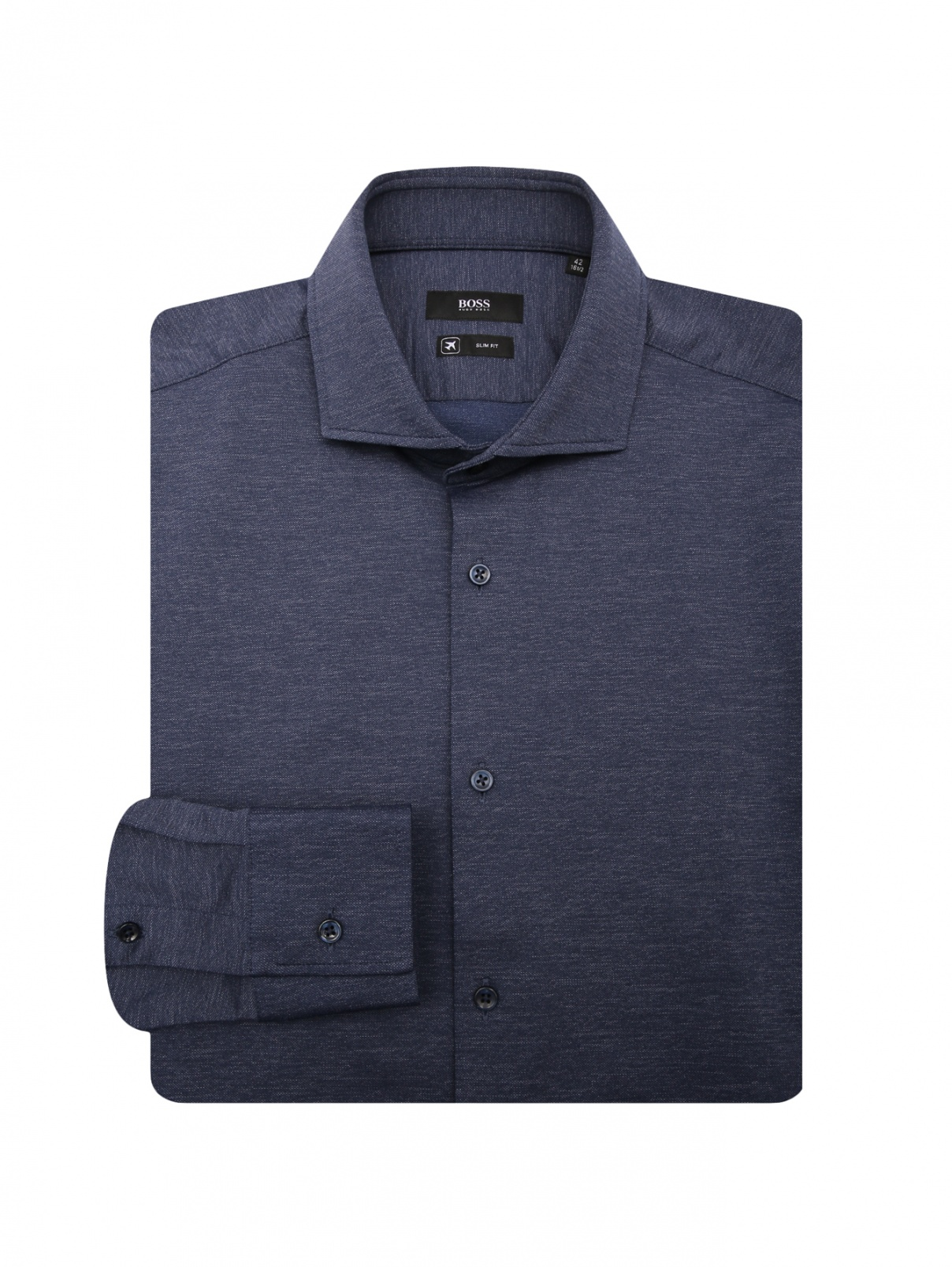 Однотонная сорочка из эластичной ткани Boss  –  Общий вид  – Цвет:  Синий
