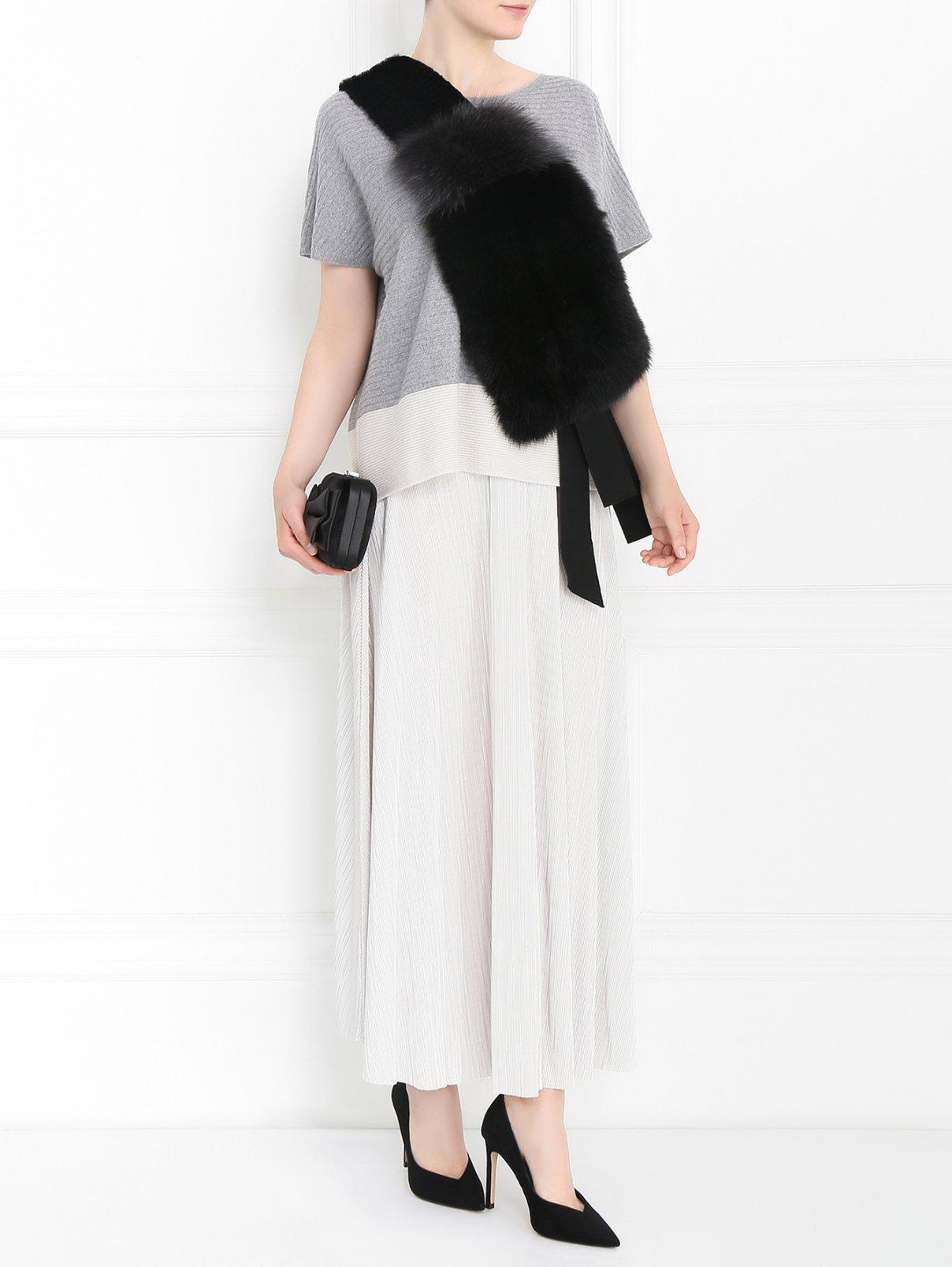 Воротник из меха лисы Marina Rinaldi  –  Модель Общий вид  – Цвет:  Черный