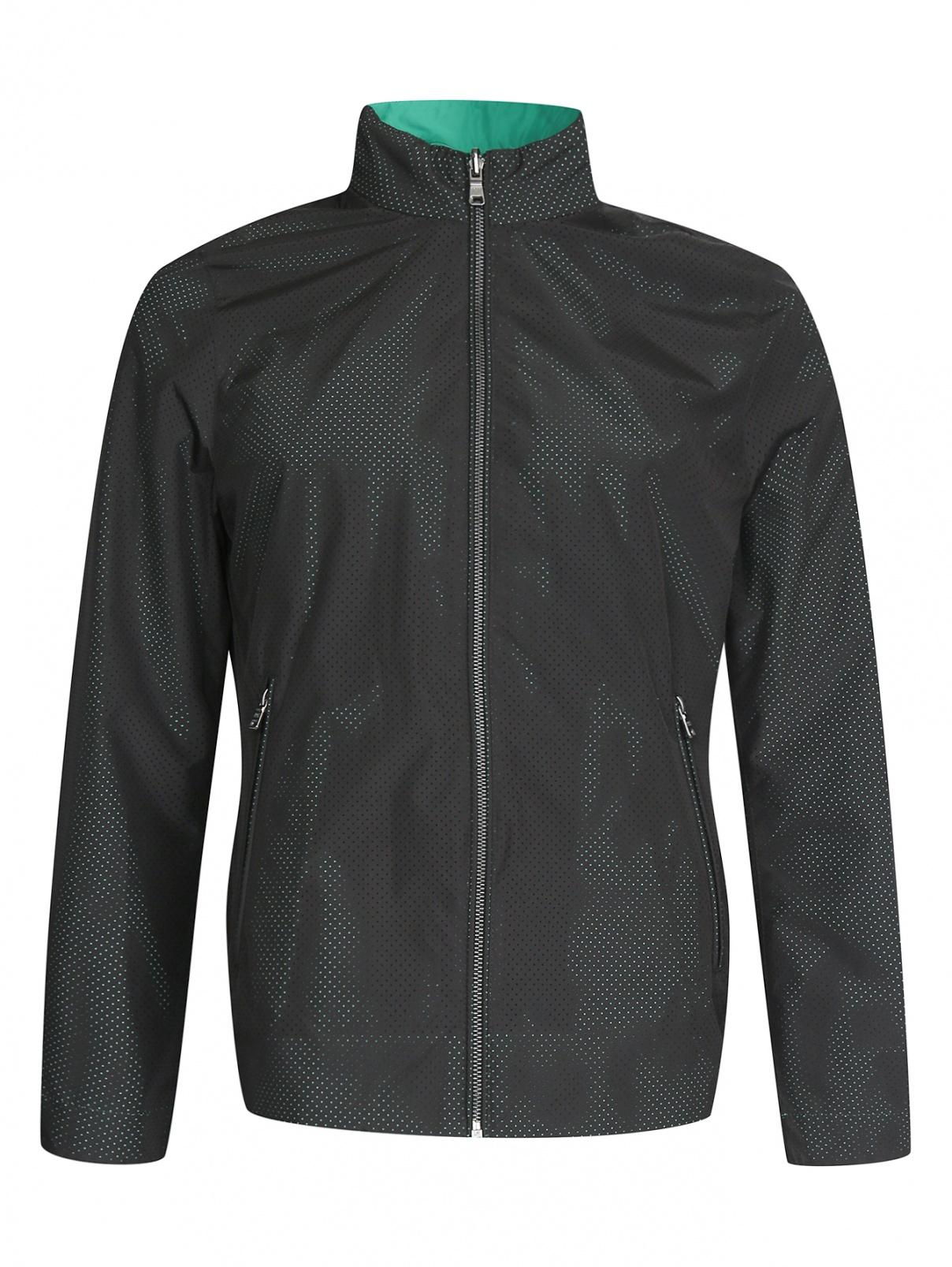 Куртка перфорированная на молнии Boss  –  Общий вид  – Цвет:  Черный