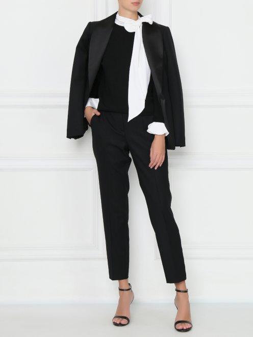 Джемпер шерстяной с контрастным воротником и манжетами - Общий вид