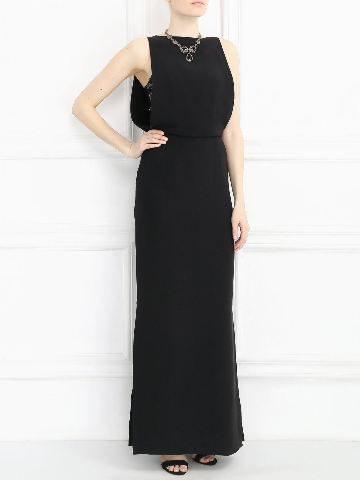 Платье-макси из шелка декорированное пайетками Yves Salomon  –  Модель Общий вид  – Цвет:  Черный
