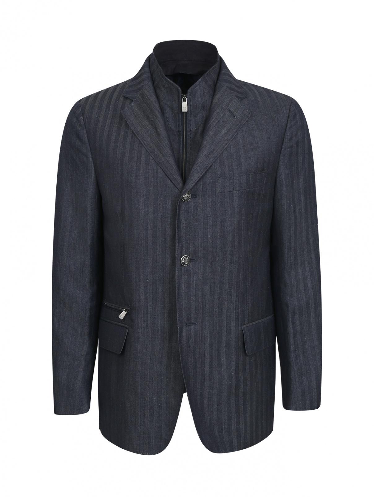 Пиджак из льна и шерсти с подстежкой Corneliani ID  –  Общий вид  – Цвет:  Синий