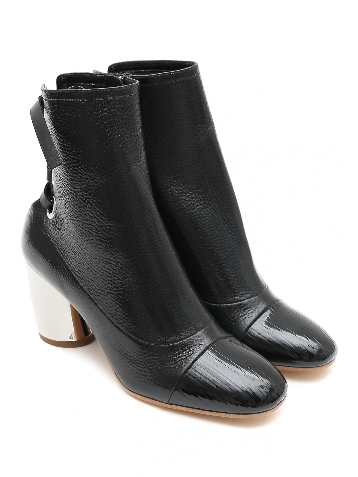 Ботильоны из фактурной кожи на среднем каблуке Proenza Schouler  –  Общий вид  – Цвет:  Черный