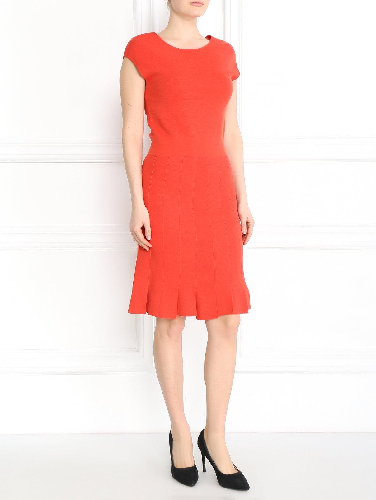 Платье-футляр из смесового хлопка Armani Collezioni  –  Модель Общий вид  – Цвет:  Красный