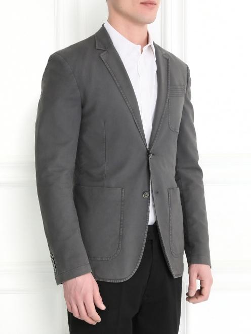 Пиджак однобортный из хлопка  - Модель Верх-Низ