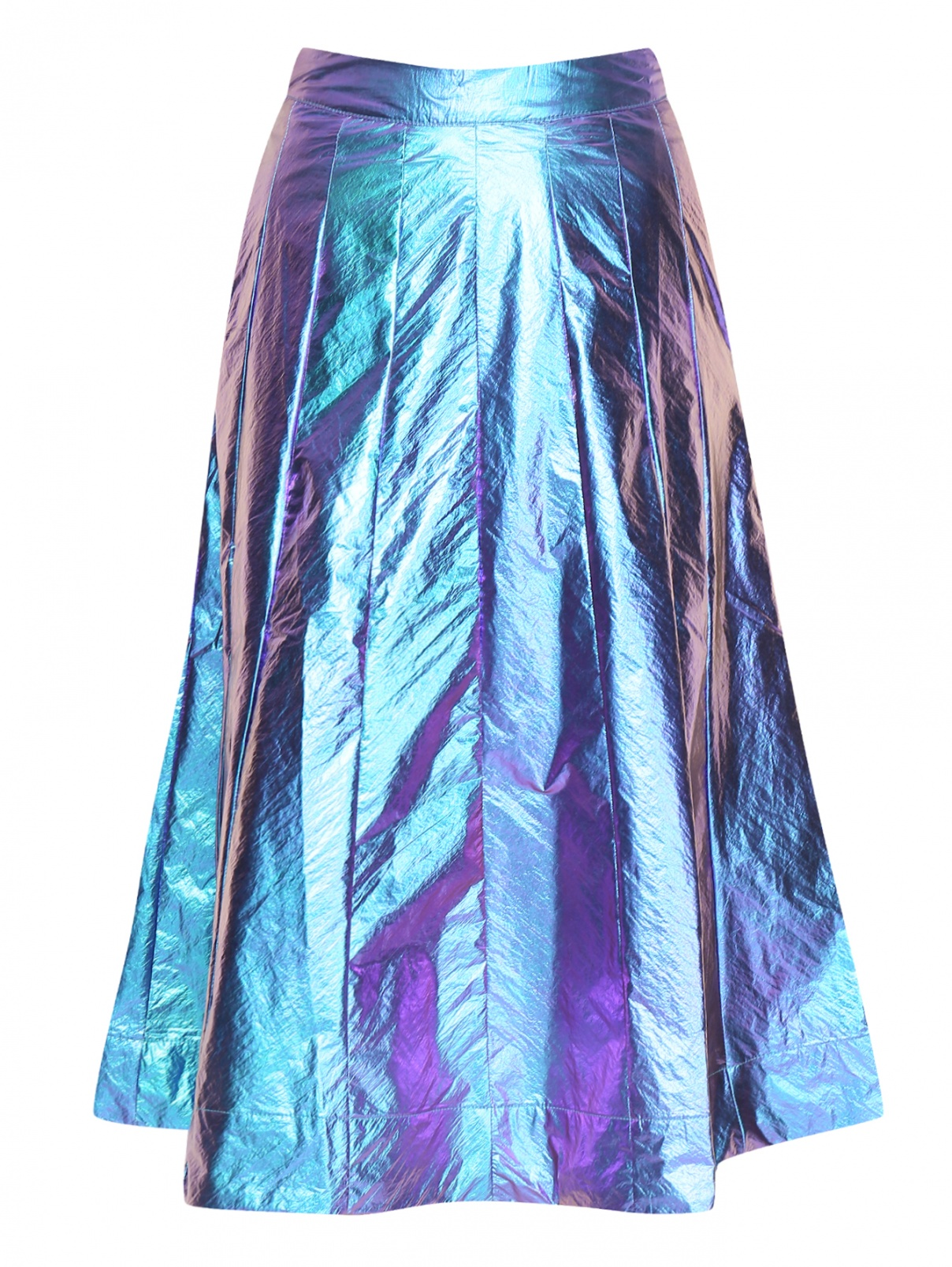 Юбка миди с покрытием металлик Essentiel Antwerp  –  Общий вид  – Цвет:  Фиолетовый