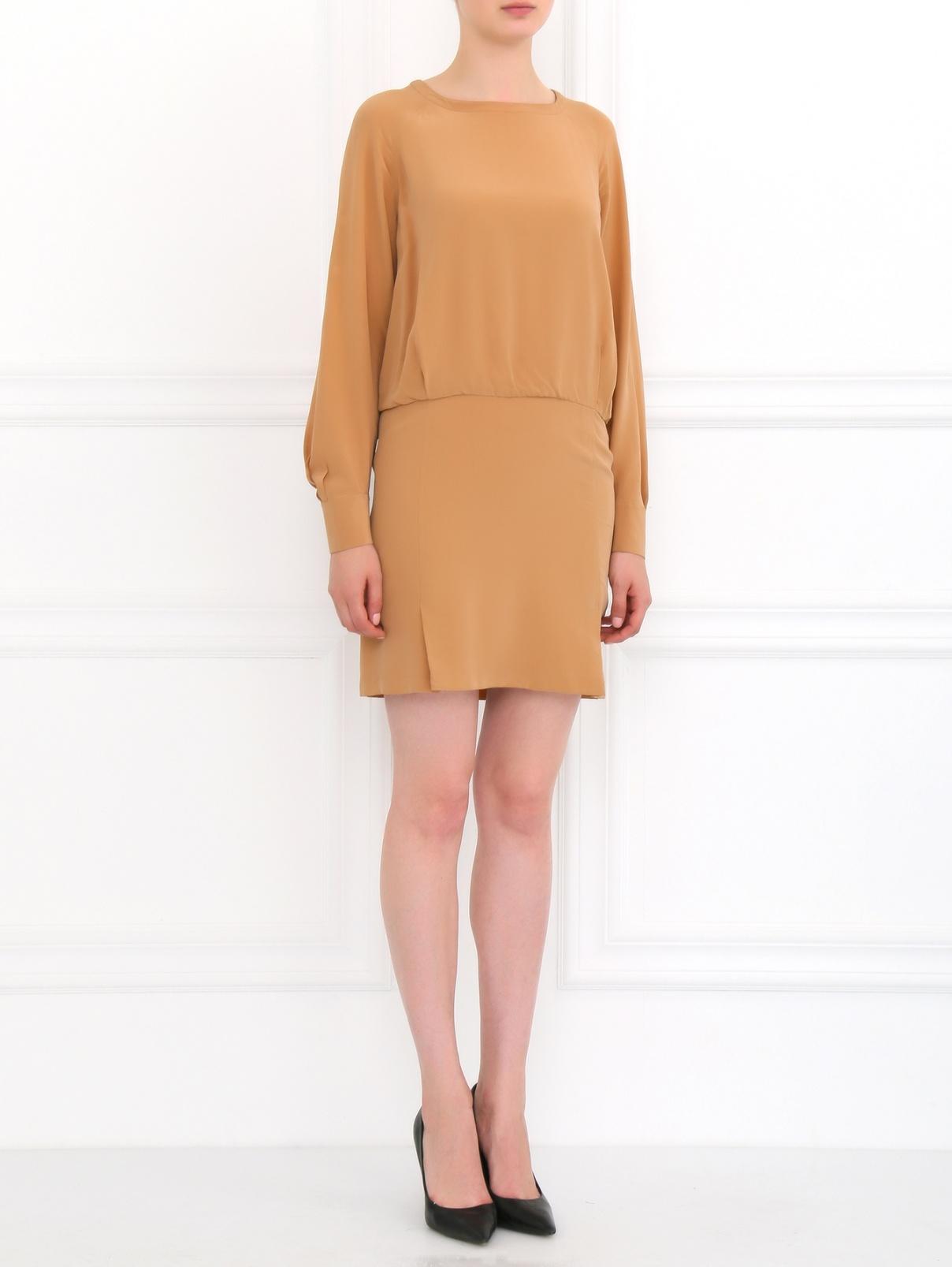 Платье свободного кроя из шелка See by Chloé  –  Модель Общий вид  – Цвет:  Оранжевый