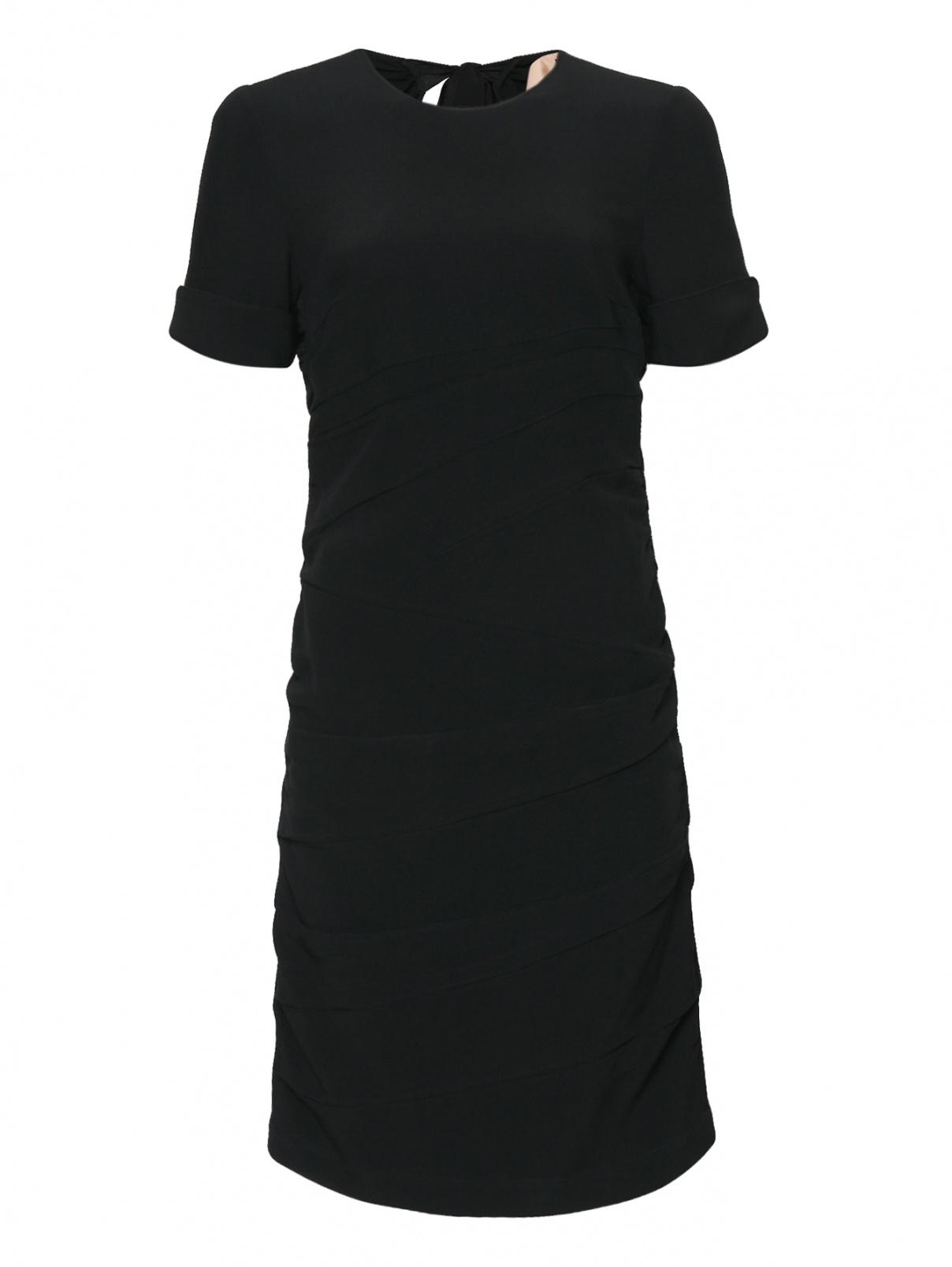 Платье-миди с драпировкой N21  –  Общий вид  – Цвет:  Черный