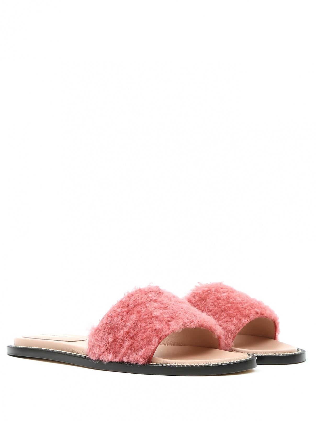 Шлепанцы из кожи с меховой отделкой Alberta Ferretti  –  Общий вид  – Цвет:  Розовый