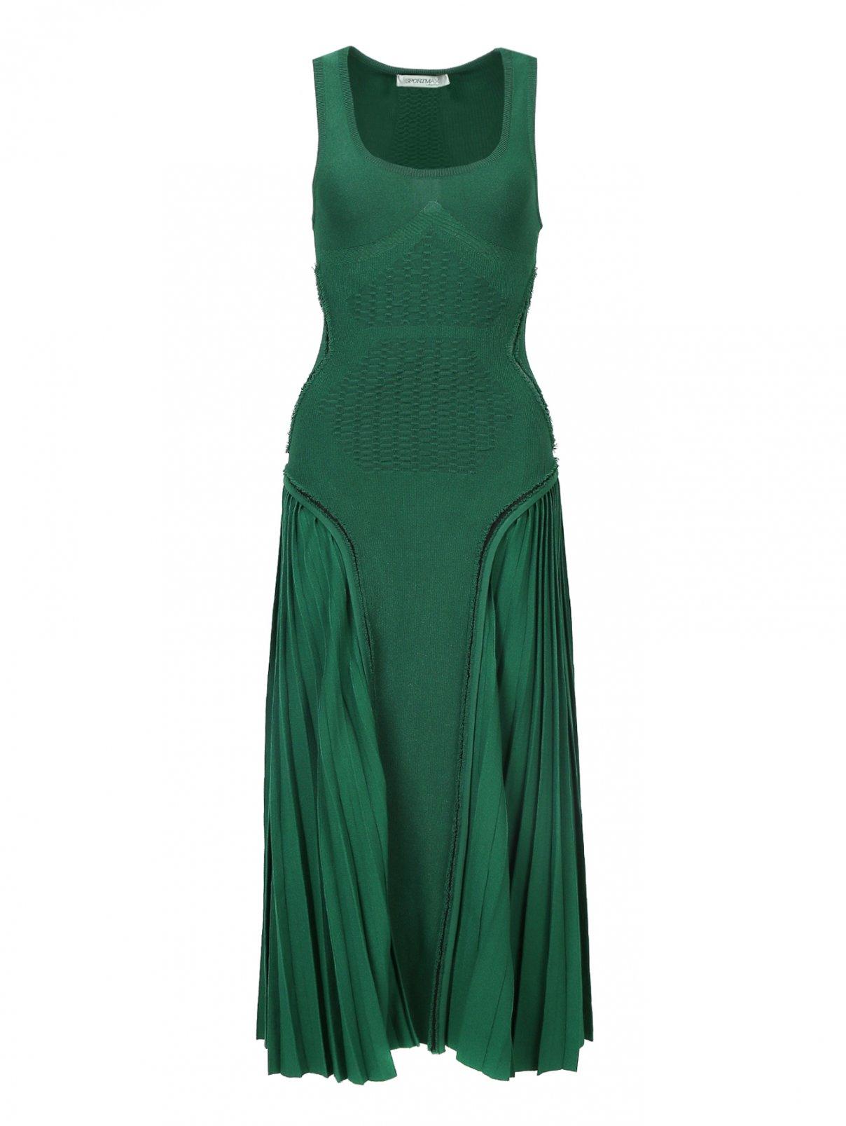 Платье трикотажное с плиссированной юбкой Sportmax  –  Общий вид  – Цвет:  Зеленый