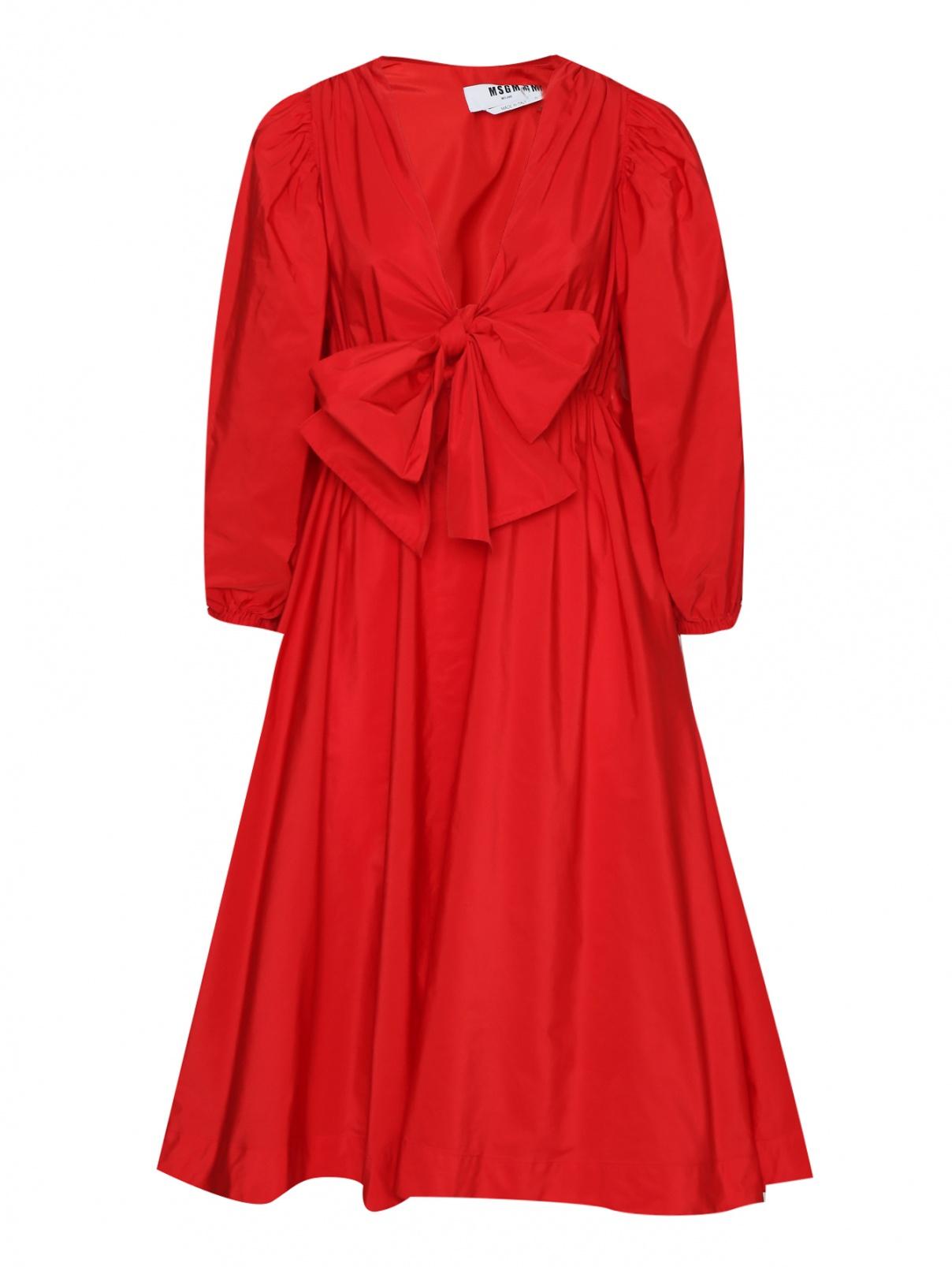 Платье миди на резинке MSGM  –  Общий вид  – Цвет:  Красный