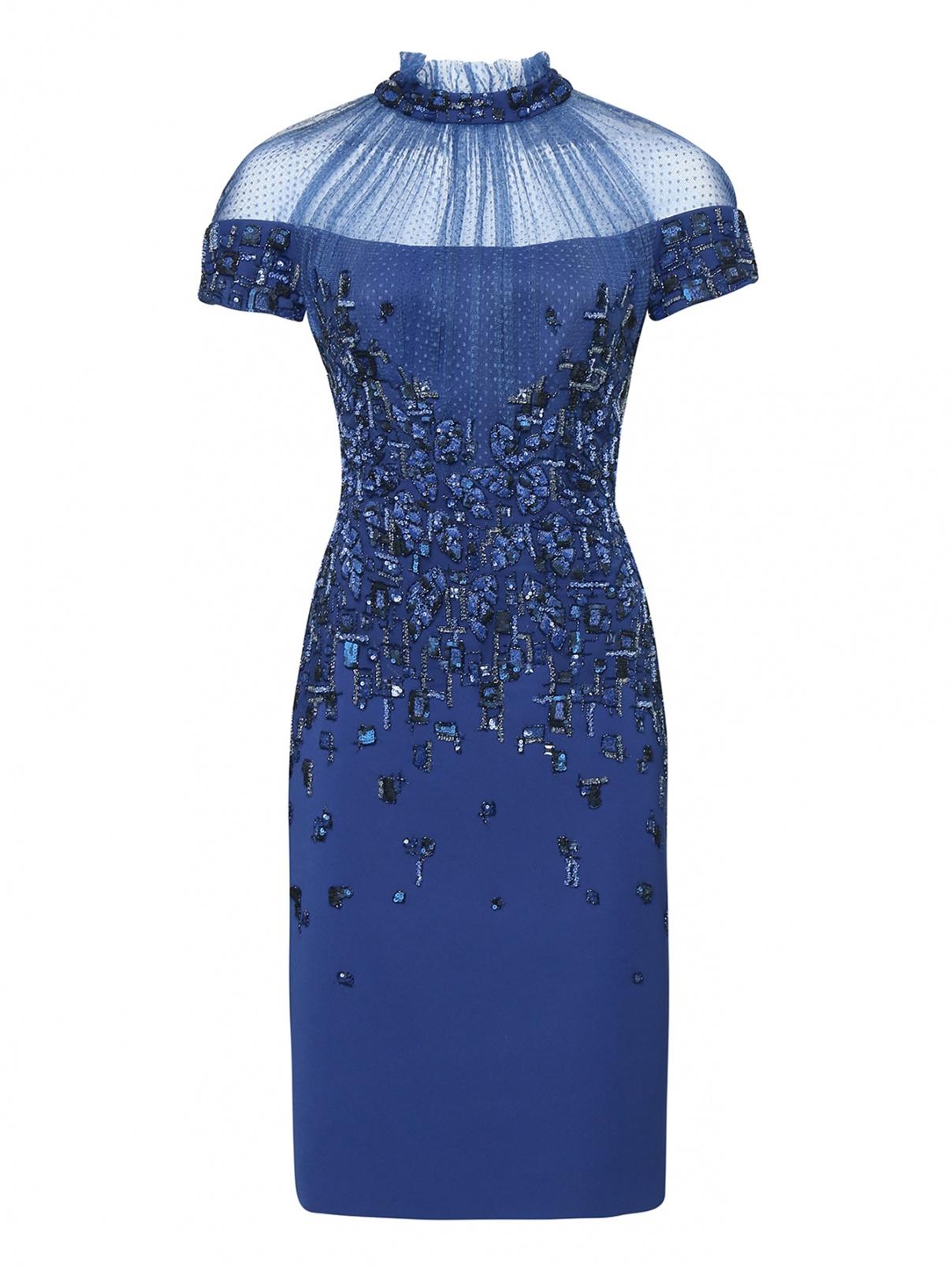 Платье с вышивкой пайетками и бусинами Tony Ward  –  Общий вид  – Цвет:  Синий