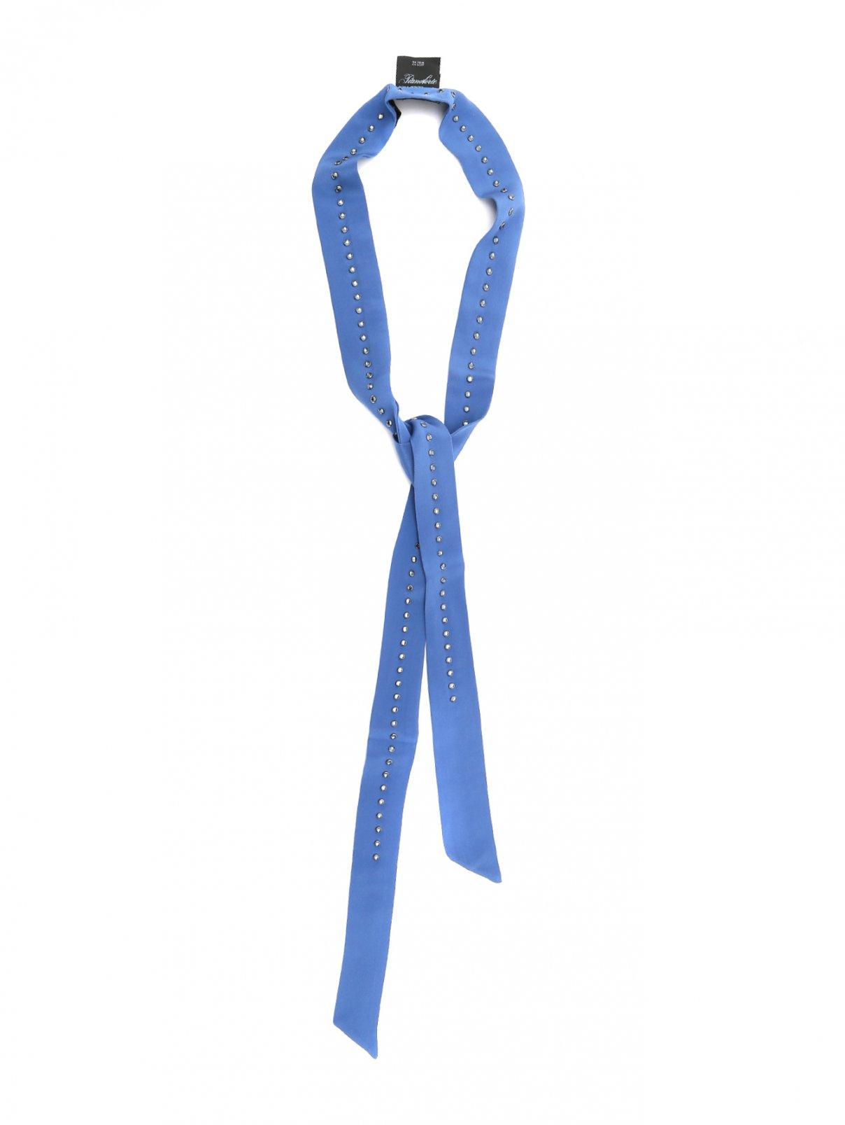 Шарф из шелка с кристаллами Max Mara  –  Общий вид  – Цвет:  Синий