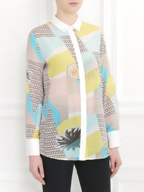 Блуза из хлопка и шелка с узором и контрастной отделкой - Модель Верх-Низ