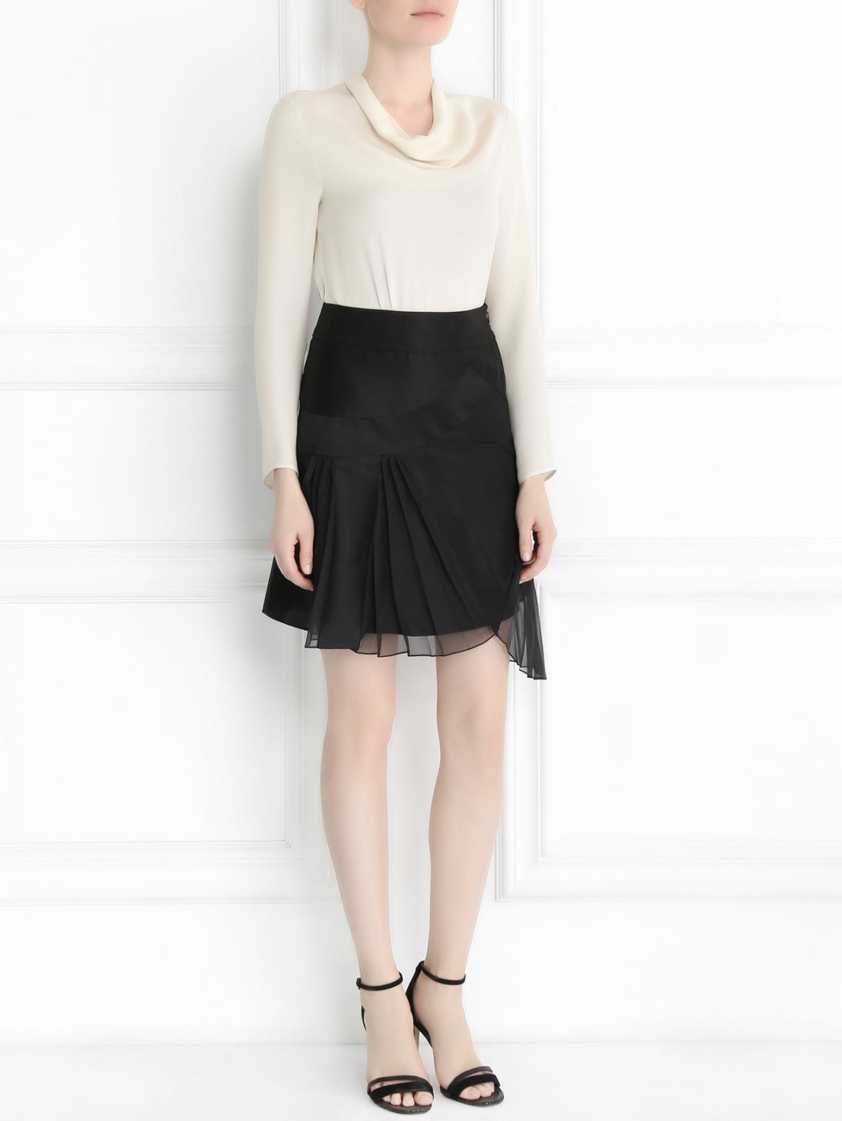 Юбка-мини из шелка Rue du Mail  –  Модель Общий вид  – Цвет:  Черный
