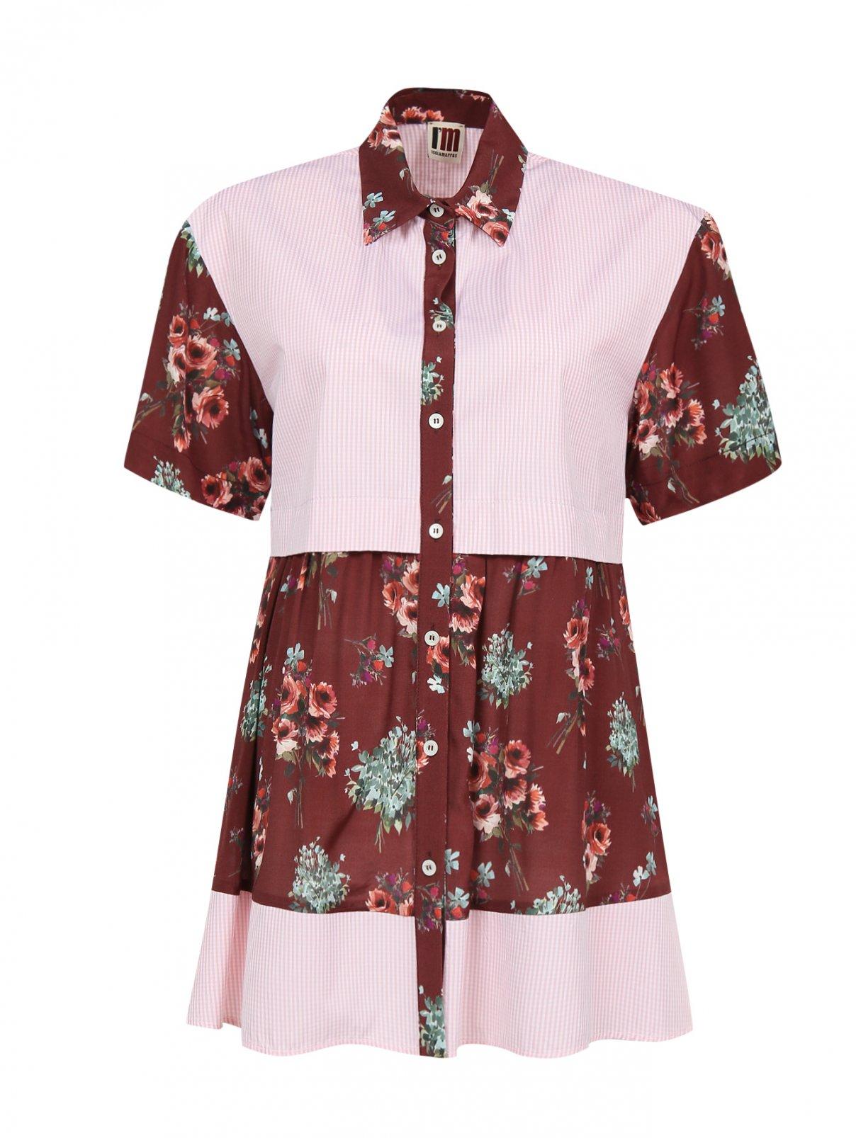 Блуза из хлопка и вискозы с контрастными вставками I'M Isola Marras  –  Общий вид  – Цвет:  Узор