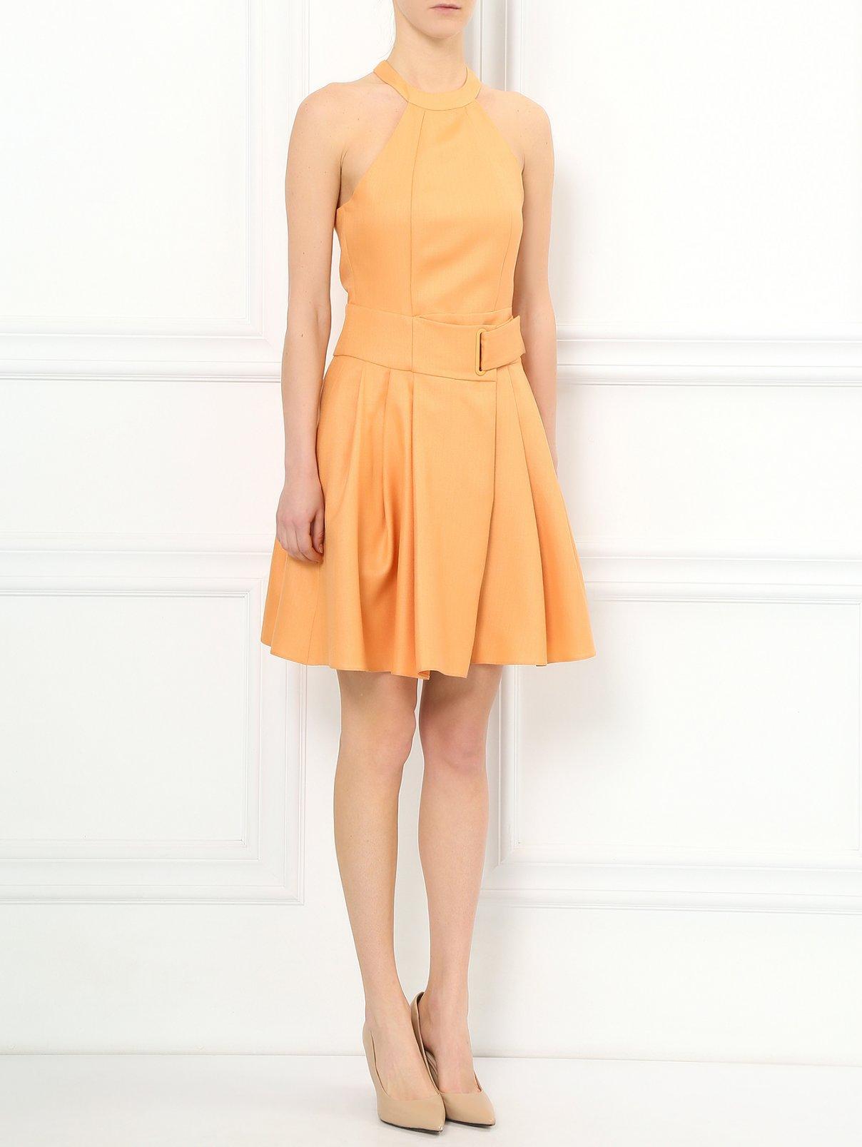 Платье-мини с декоративной пряжкой Emporio Armani  –  Модель Общий вид  – Цвет:  Оранжевый