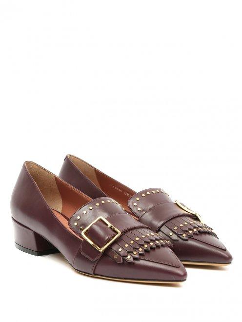 Туфли из кожи на низком каблуке с пряжкой - Общий вид