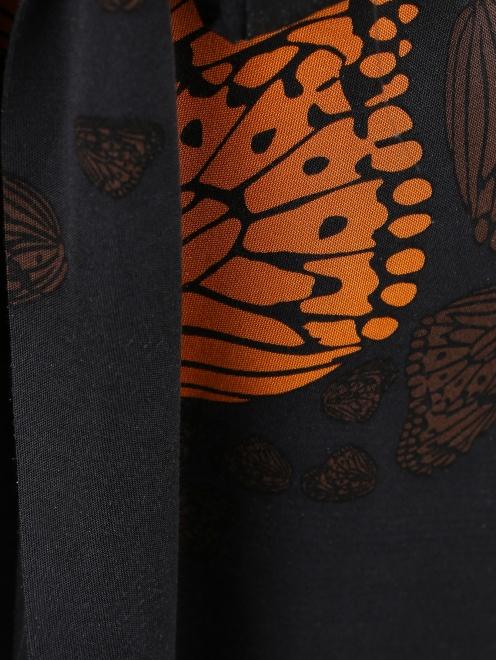 Платье-мини из шелка с узором и драпировкой  - Деталь1