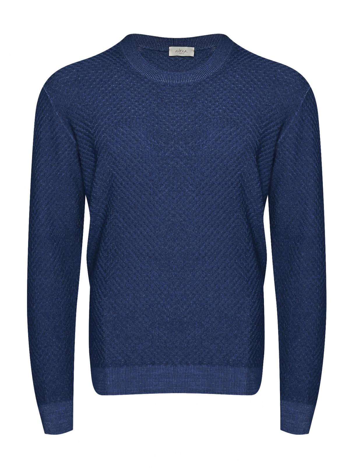 Джемпер из шерсти с круглым вырезом Altea  –  Общий вид  – Цвет:  Синий