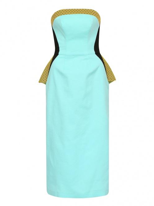 Платье-футляр без бретелей с драпировкой - Общий вид