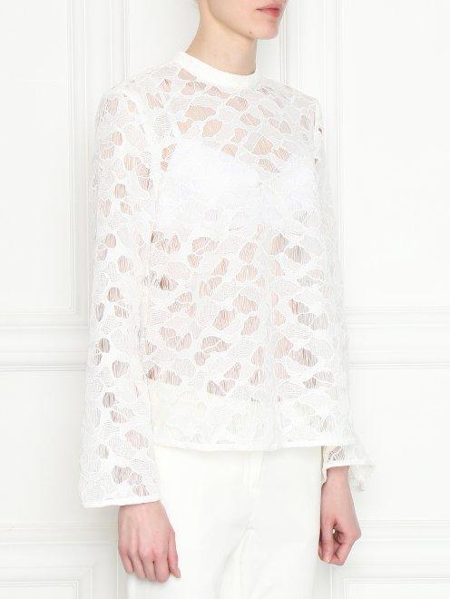 Полупрозрачная блуза свободного кроя - МодельВерхНиз