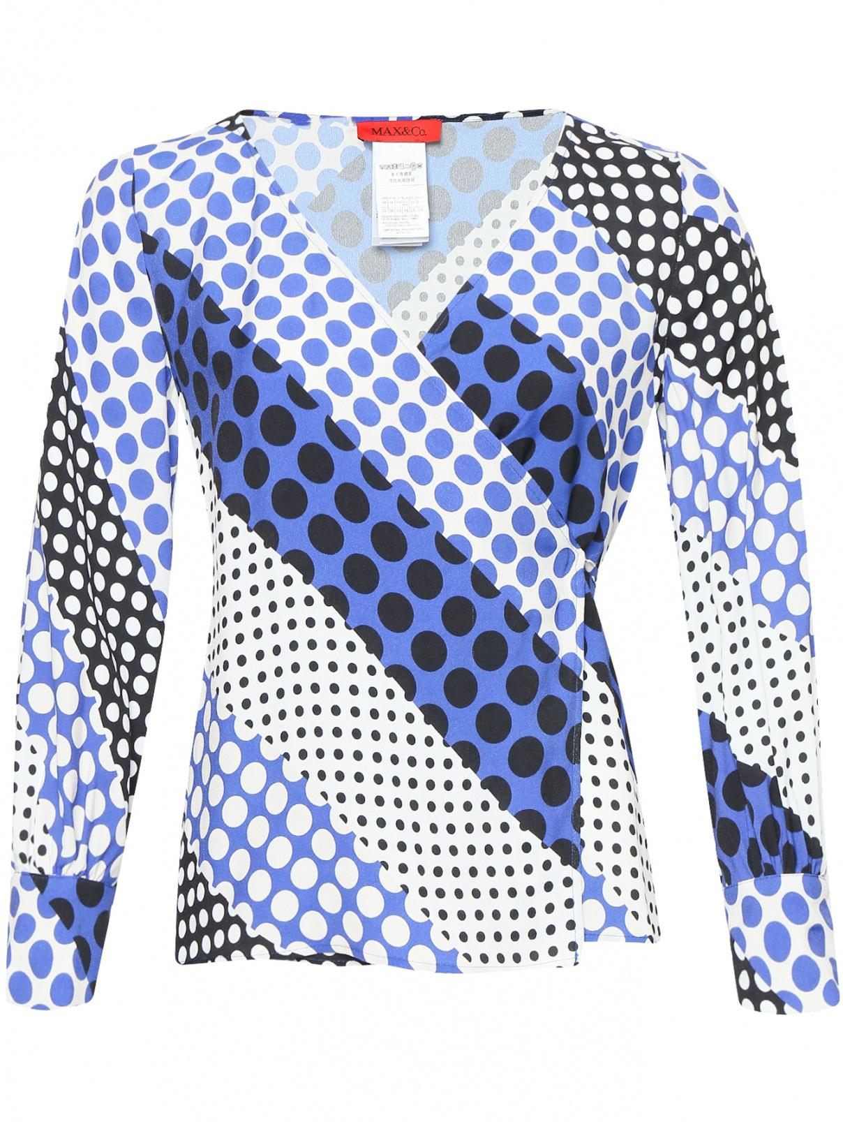 Блуза на запах с узором Max&Co  –  Общий вид  – Цвет:  Узор