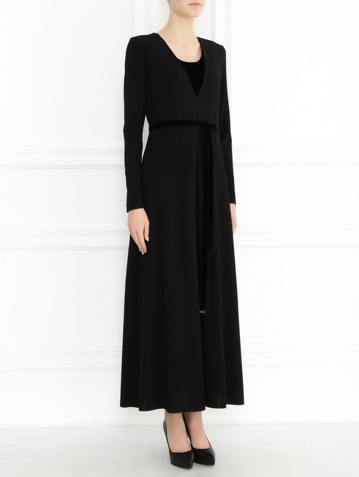 Платье-миди из вискозы с контрастной отделкой Max Mara  –  Модель Общий вид