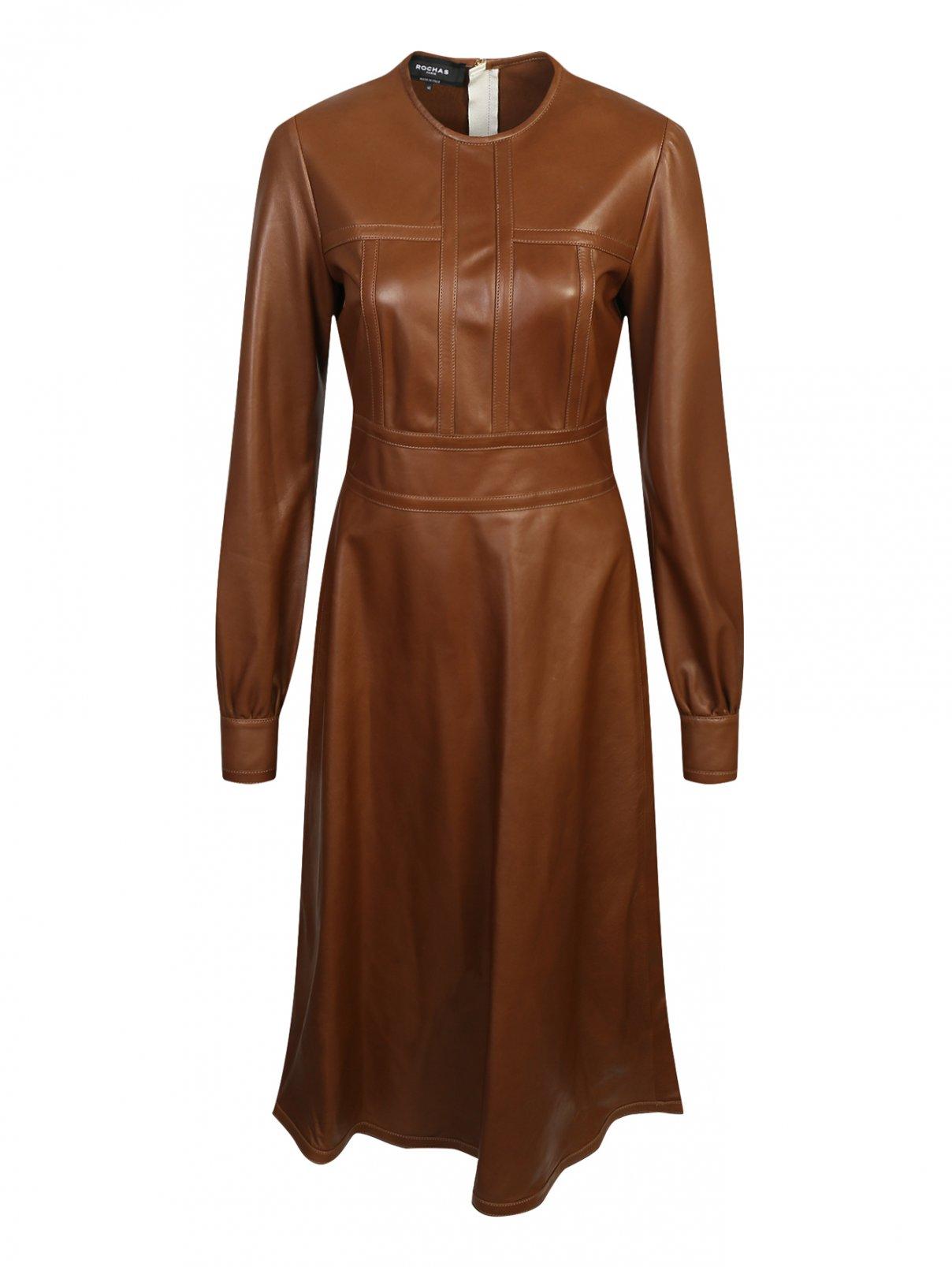 Платье-миди из кожи Rochas  –  Общий вид