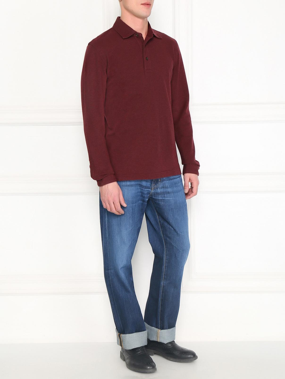 Поло из хлопка и шерсти с длинными рукавами Brooks Brothers  –  Модель Общий вид