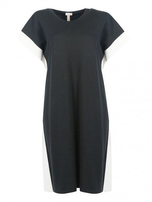 Платье из хлопка и шелка с контрастной отделкой - Общий вид