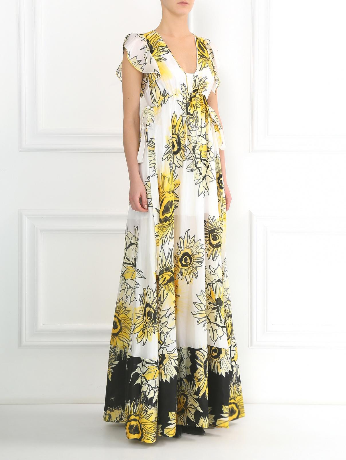 Платье-макси из шелка с цветочным узором N21  –  Модель Общий вид  – Цвет:  Белый