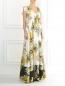 Платье-макси из шелка с цветочным узором N21  –  Модель Общий вид