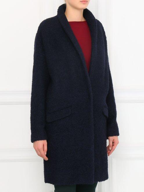 Пальто свободного кроя с накладными карманами - Модель Верх-Низ
