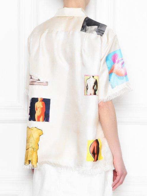 Рубашка из шелка с узором и короткими рукавами - МодельВерхНиз1