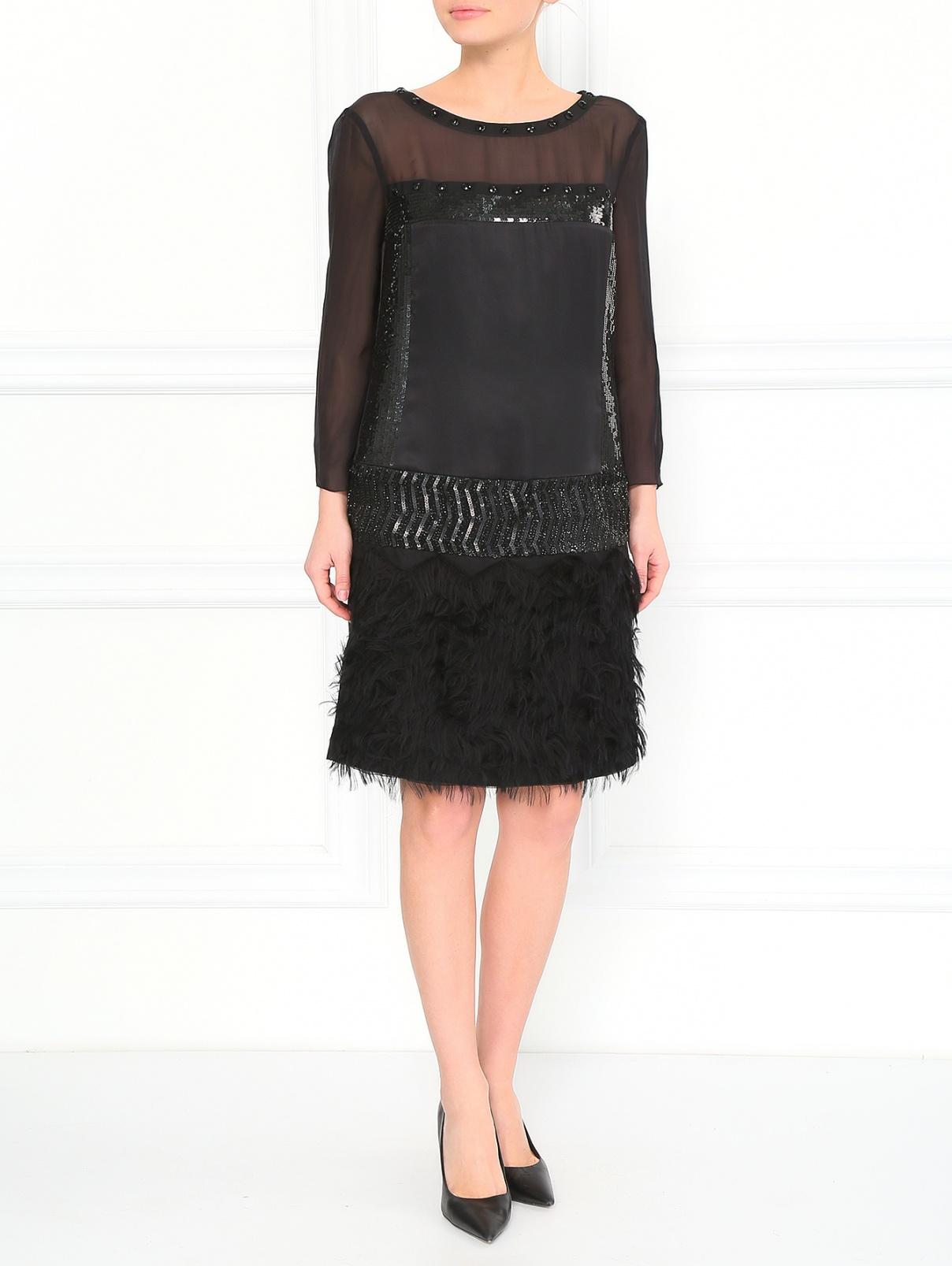 Платье из шелка с фактурными вставками Philosophy di Alberta Ferretti  –  Модель Общий вид