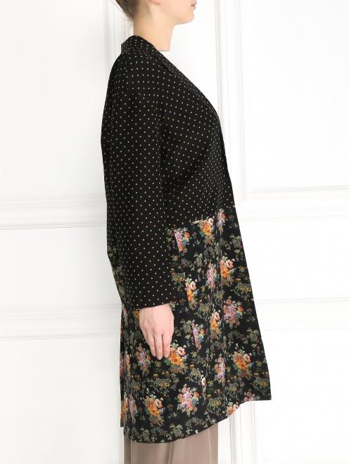 Легкое пальто из шелка с цветочным узором - Модель Верх-Низ2