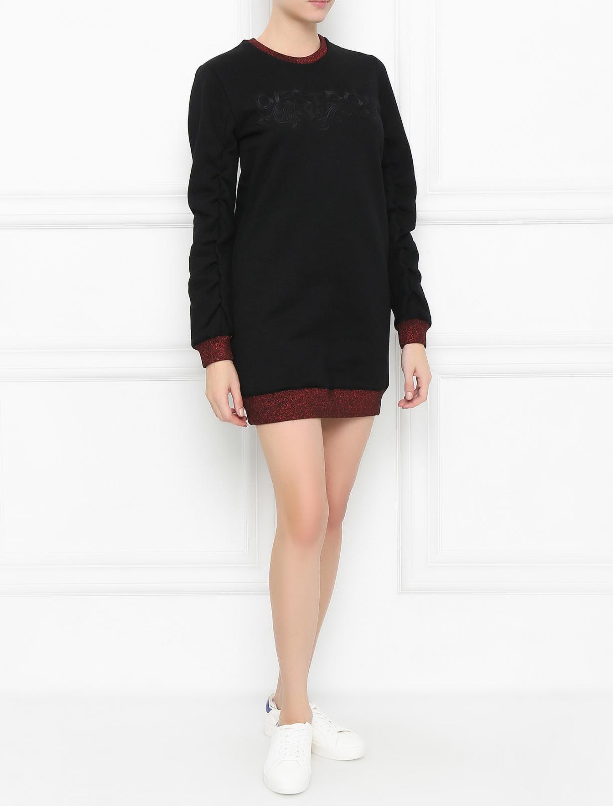 Платье из хлопка с вышивкой Zoe Karssen  –  Модель Общий вид  – Цвет:  Черный