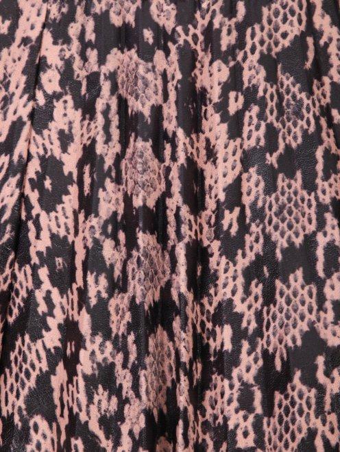 Плиссированная юбка из кожи с узором - Деталь1