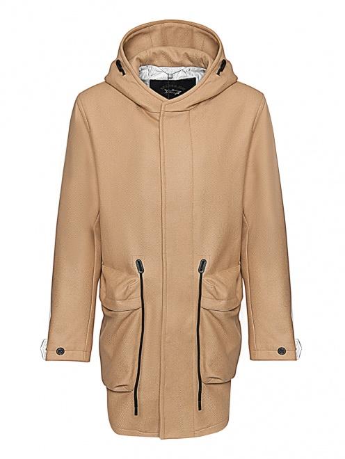 Пальто из смешанной шерсти с капюшоном и карманами  - Общий вид