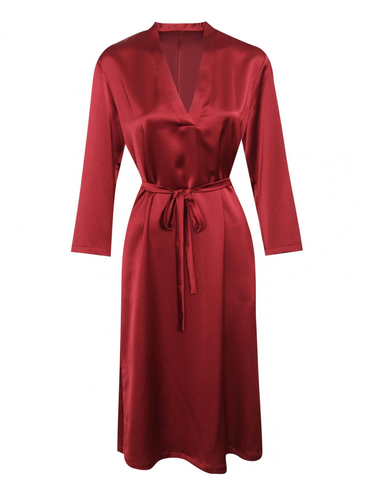 Платье прямого силуэта с поясом Marina Rinaldi  –  Общий вид