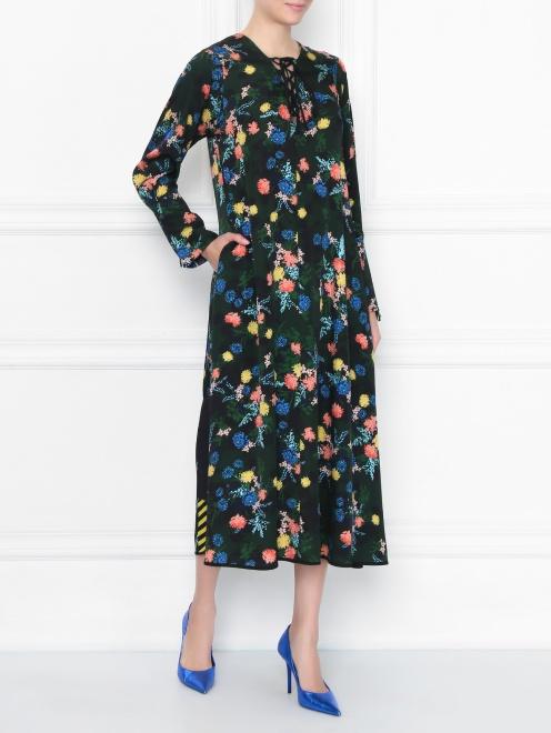 Платье из смешанного шелка с цветочным узором - Общий вид