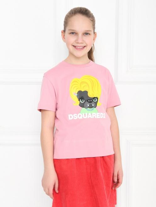 Хлопковая футболка с принтом - МодельВерхНиз