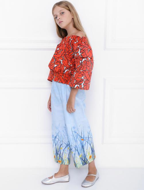 Блуза хлопковая в крестьянском стиле - Общий вид