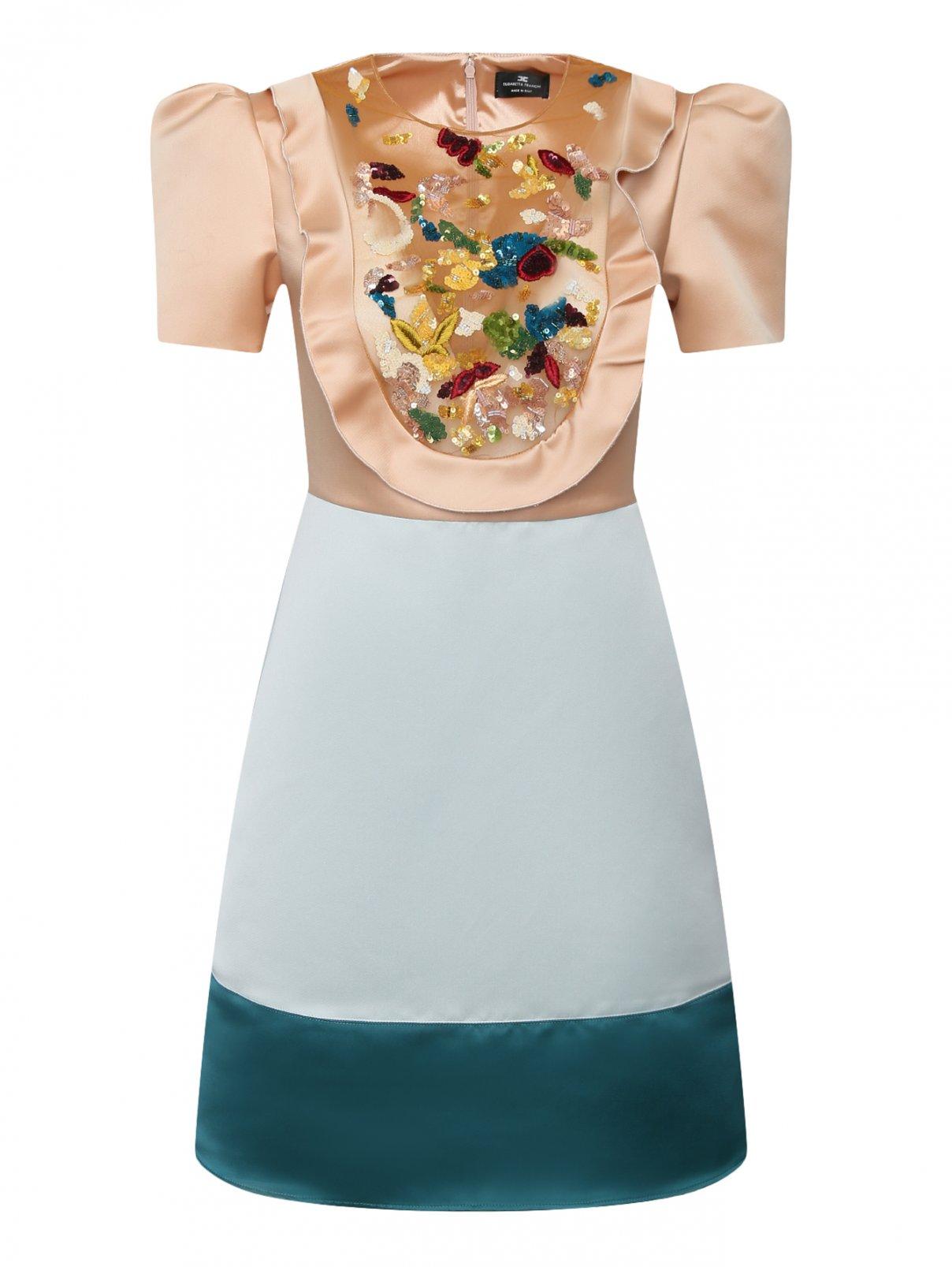 Платье с полупрозрачной вставкой, декорированное пайетками Elisabetta Franchi  –  Общий вид